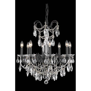 Athena Dark Bronze Eight-Light Chandelier with Clear Royal Cut Crystal