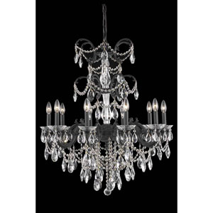 Athena Dark Bronze 10-Light Chandelier with Clear Royal Cut Crystal