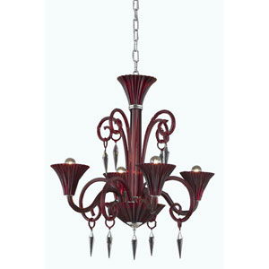 Symphony Red Four-Light Chandelier with Elegant Cut Crystal