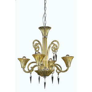 Symphony Yellow Four-Light Chandelier with Elegant Cut Crystal