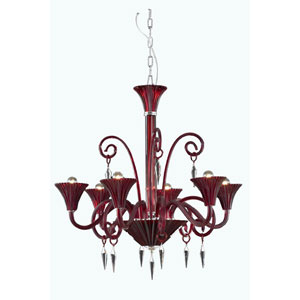 Symphony Red Six-Light Chandelier with Elegant Cut Crystal