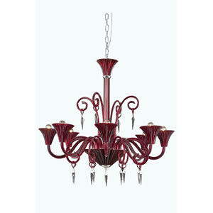 Symphony Red Eight-Light Chandelier with Elegant Cut Crystal