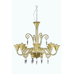 Symphony Yellow Eight-Light Chandelier with Elegant Cut Crystal