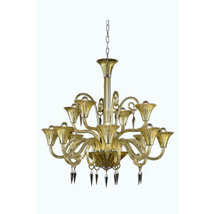 Symphony Yellow 12-Light Chandelier with Elegant Cut Crystal
