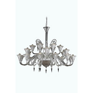 Symphony Clear 24-Light Chandelier with Elegant Cut Crystal