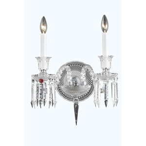 Majestic Chrome Two-Light Wall Sconce with Elegant Cut Crystal