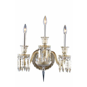 Majestic Elegant Cut Crystal Golden Teak Three Light 21-in Wall Sconce