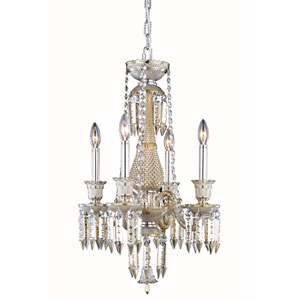 Majestic Elegant Cut Crystal Golden Teak Four Light 24-in Pendant