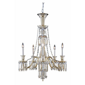 Majestic Elegant Cut Crystal Golden Teak Five Light 34-in Chandelier