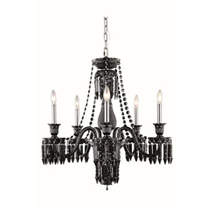 Majestic Elegant Cut Crystal Black Five Light 34-in Chandelier
