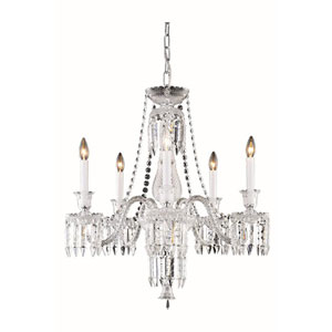 Majestic Elegant Cut Crystal Chrome Five Light 34-in Chandelier