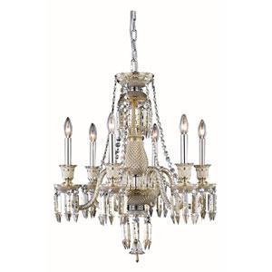 Majestic Elegant Cut Crystal Golden Teak Six Light 26-in Chandelier