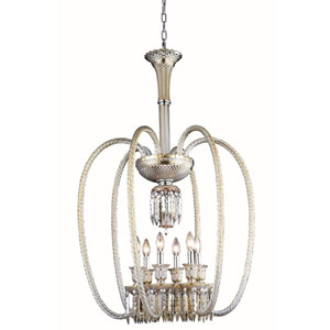 Majestic Elegant Cut Crystal Golden Teak Six Light 40-in Chandelier