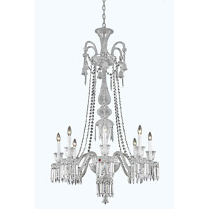 Majestic Chrome Eight-Light Chandelier with Elegant Cut Crystal