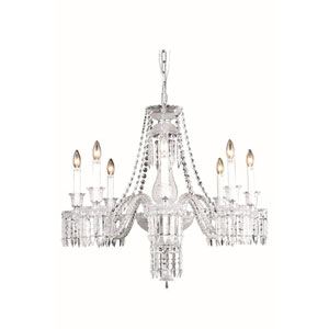Majestic Elegant Cut Crystal Chrome Eight Light 28-in Chandelier