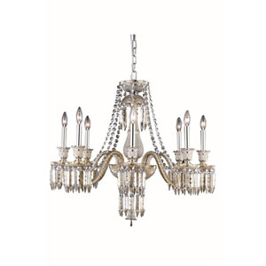 Majestic Elegant Cut Crystal Golden Teak Eight Light 28-in Chandelier
