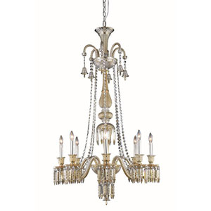 Majestic Elegant Cut Crystal Golden Teak Eight Light 53-in Chandelier