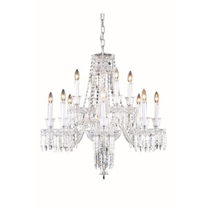 Majestic Elegant Cut Crystal Chrome 12 Light 31-in Chandelier