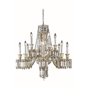 Majestic Elegant Cut Crystal Golden Teak 12 Light 31-in Chandelier