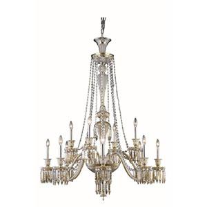 Majestic Elegant Cut Crystal Golden Teak 12 Light 55-in Chandelier
