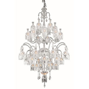Majestic Elegant Cut Crystal Chrome 42 Light 80-in Chandelier