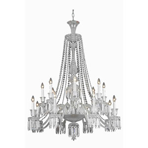 Majestic Chrome 16-Light Chandelier with Elegant Cut Crystal
