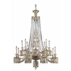 Majestic Elegant Cut Crystal Golden Teak 16 Light 55-in Chandelier