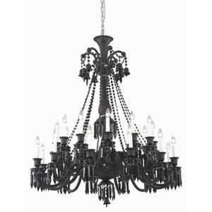 Majestic Elegant Cut Crystal Black 24 Light 50-in Chandelier