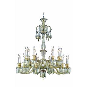 Majestic Elegant Cut Crystal Golden Teak 24 Light 50-in Chandelier
