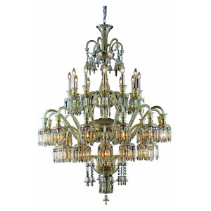 Majestic Elegant Cut Crystal Golden Teak 36 Light 60-in Chandelier