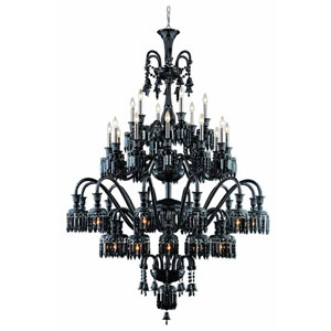 Majestic Elegant Cut Crystal Black 42 Light 75-in Chandelier