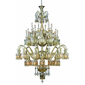 Majestic Elegant Cut Crystal Golden Teak 42 Light 75-in Chandelier