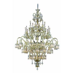 Majestic Golden Teak 48-Light Chandelier with Golden Teak Elegant Cut Crystal