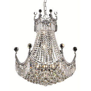 Corona Chrome Nine-Light 20-Inch Chandelier with Royal Cut Clear Crystal