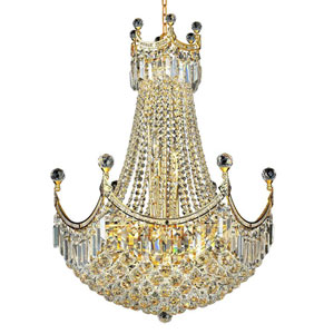 Corona Gold Eighteen-Light 24-Inch Chandelier with Royal Cut Clear Crystal