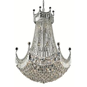 Corona Chrome Twenty-Four Light 30-Inch Chandelier with Royal Cut Clear Crystal