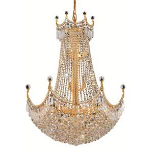 Corona Gold Twenty-Four Light 30-Inch Chandelier with Royal Cut Clear Crystal