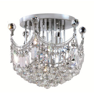 Corona Chrome Six-Light 16-Inch Flush Mount with Royal Cut Clear Crystal