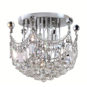 Corona Chrome Six-Light 16-Inch Flush Mount with Royal Cut Clear Crystal