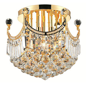Corona Gold Six-Light 16-Inch Flush Mount with Royal Cut Clear Crystal