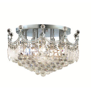 Corona Chrome Nine-Light 20-Inch Flush Mount with Royal Cut Clear Crystal