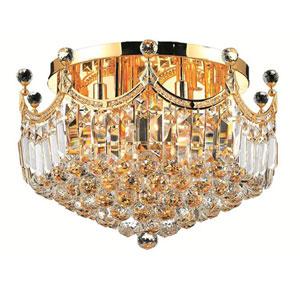 Corona Gold Nine-Light 20-Inch Flush Mount with Royal Cut Clear Crystal