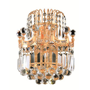 Corona Gold Two-Light 12-Inch Wall Sconce with Royal Cut Clear Crystal