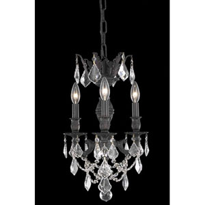 Lillie Dark Bronze Three-Light Chandelier with Clear Royal Cut Crystals