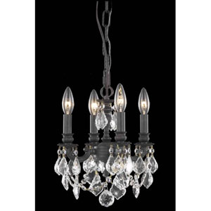 Lillie Dark Bronze Four-Light Chandelier with Clear Royal Cut Crystals