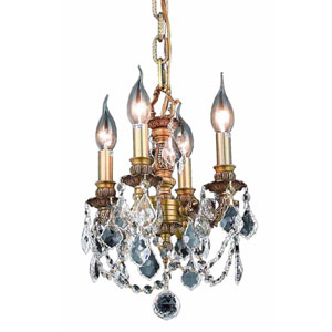 Lille French Gold Four-Light Chandelier with Golden Shadow Royal Cut Crystal