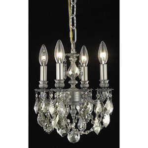 Lillie Pewter Four-Light Chandelier with Golden Teak/Smoky Royal Cut Crystals