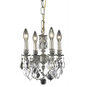 Lillie Pewter Four-Light Chandelier with Clear Royal Cut Crystals