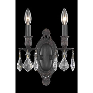 Rosalia Dark Bronze Two-Light Sconce with Clear Royal Cut Crystals