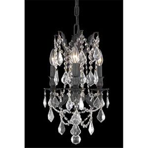 Rosalia Dark Bronze Three-Light Chandelier with Clear Royal Cut Crystals